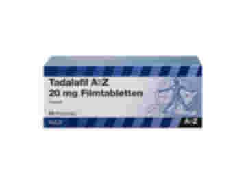 Vorderseite einer Packung Tadalafil 20 mg mit 24 Tabletten von AbZ.