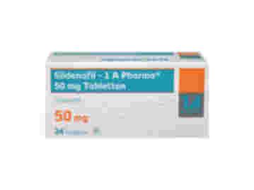 Vorderseite einer Packung Sildenafil 50 mg mit 24 Tabletten von 1 A Pharma.