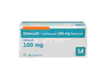 Vorderseite einer Packung Sildenafil 100 mg mit 24 Tabletten von 1 A Pharma.