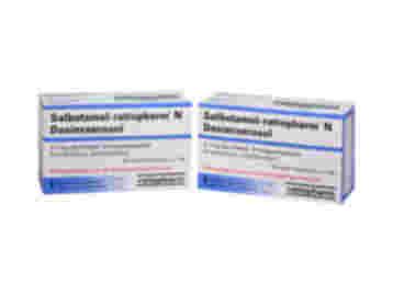 Vorderansicht von zwei Packungen Salbutamol- ratiopharm N Dosieraerosol 0,1 mg Nasenspray