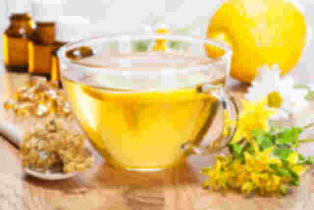 Chamomile tea and lemon