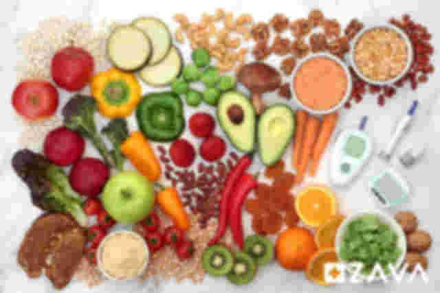 Diabetes Messgerät Obst Gemüse gesunde Ernährung Nüsse