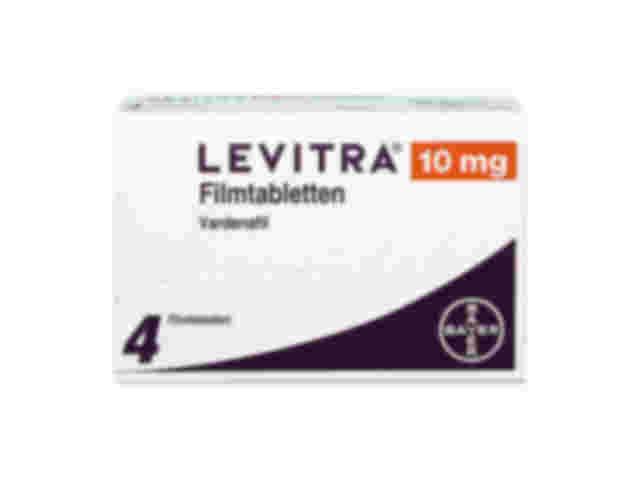 Vorderseite einer Packung Levitra 10 mg mit 4 Filmtabletten von Bayer.