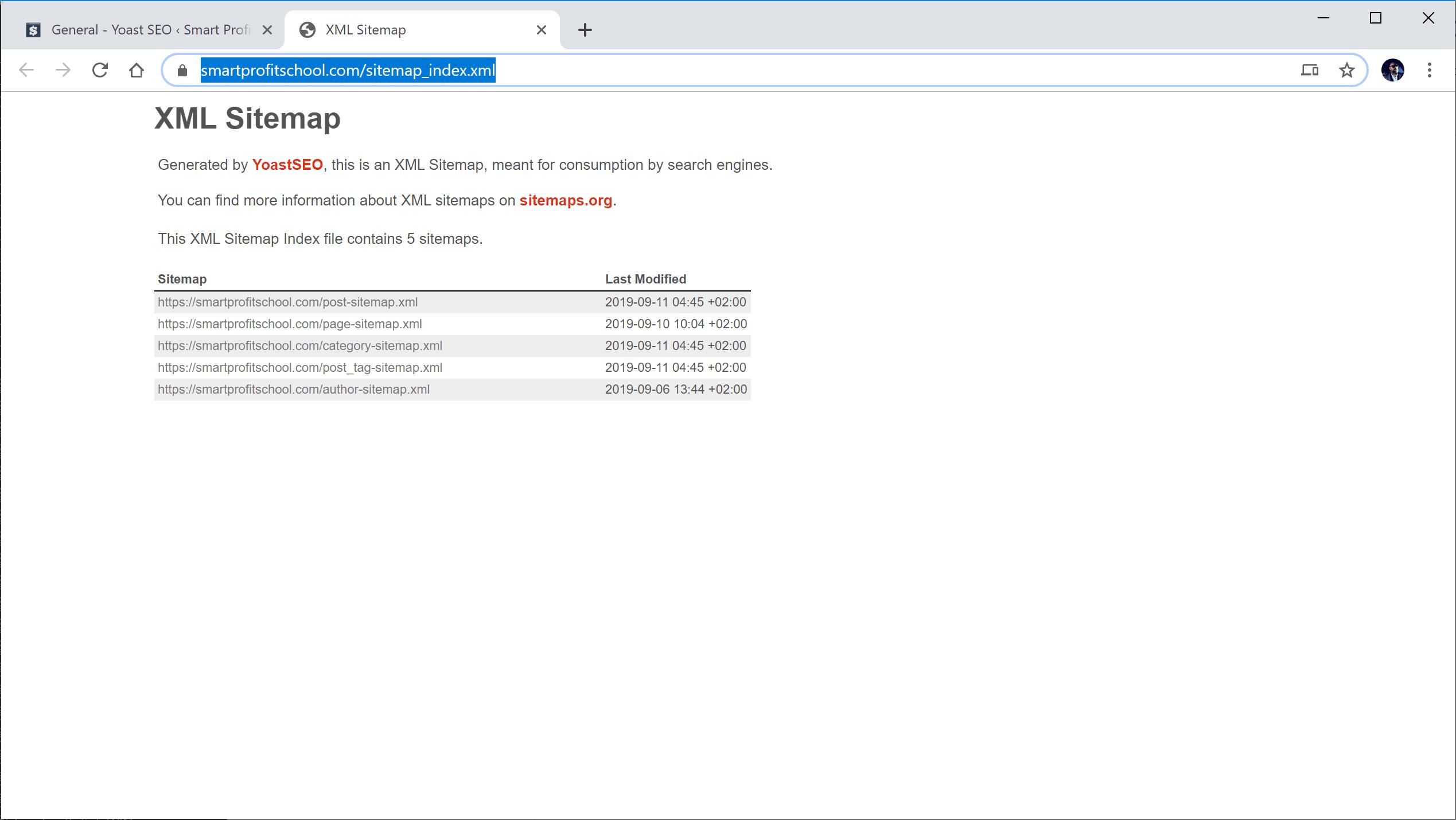XML sitemaps URL