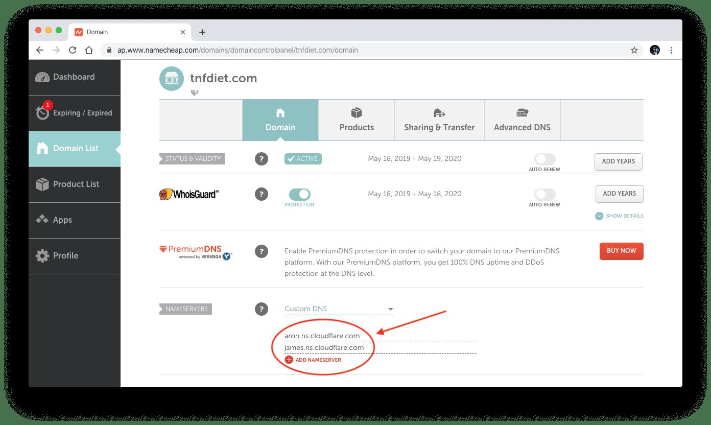 Custom DNS setup with Namecheap.