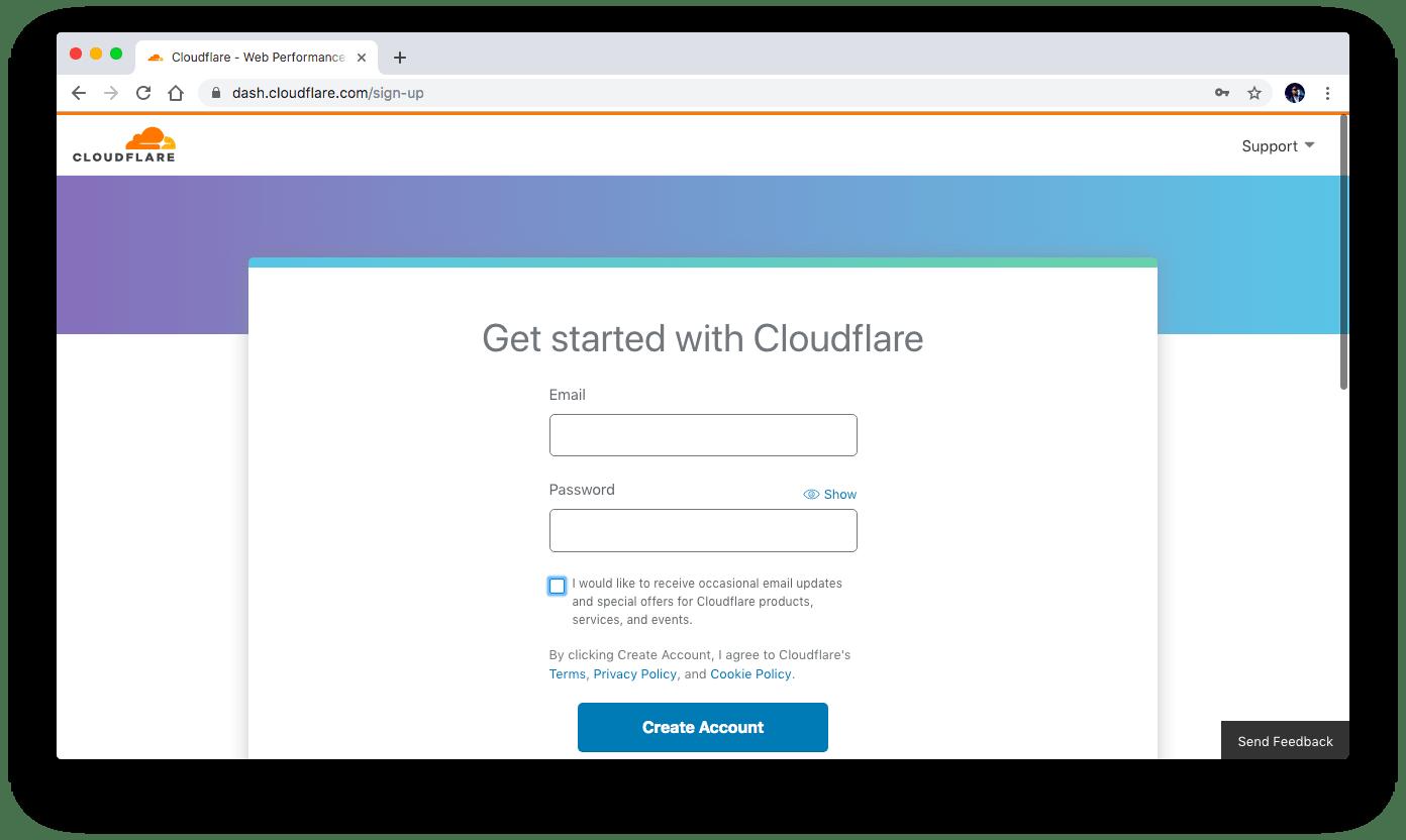 Cloudflare.com sign-up form