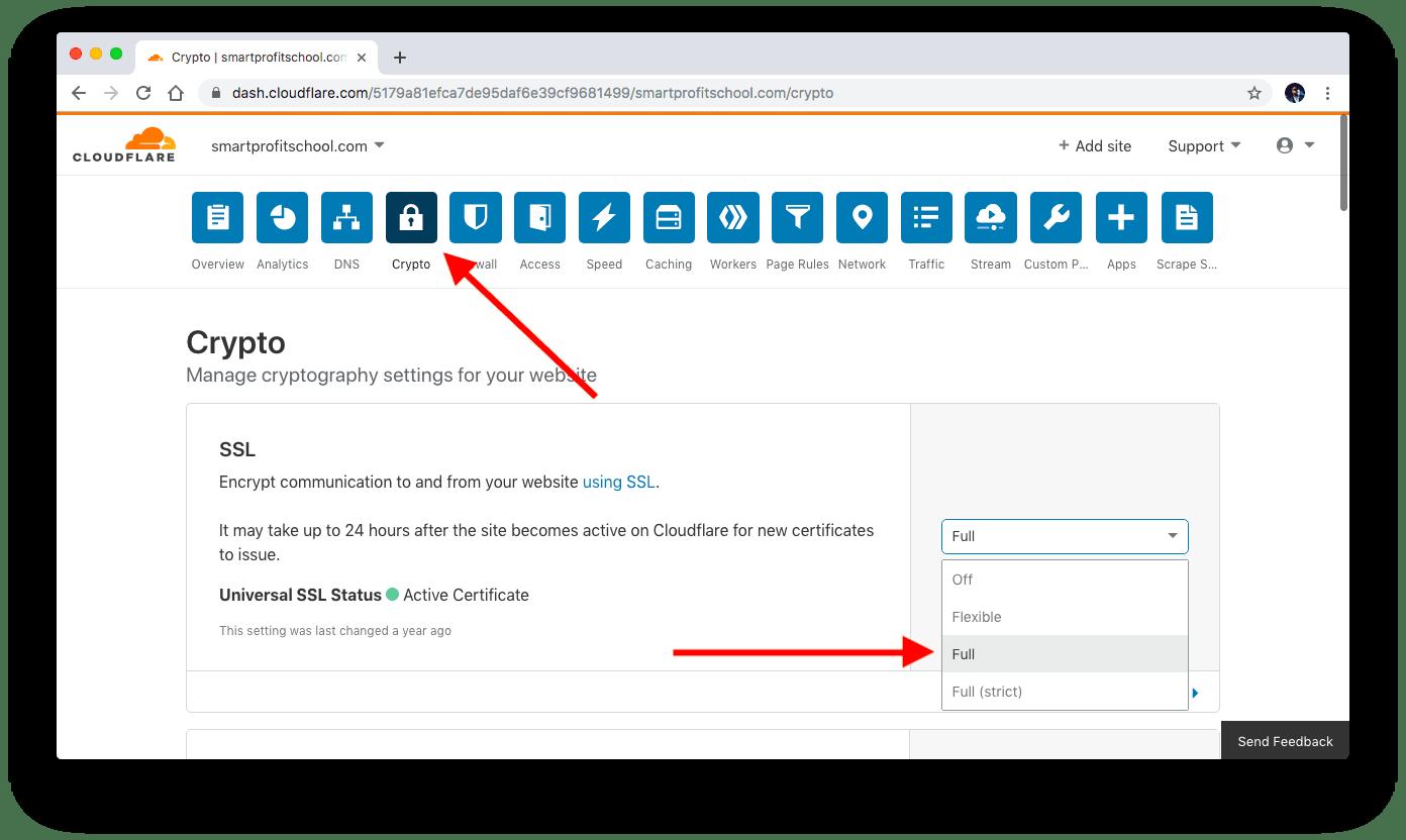 Choosing Full SSL with Cloudflare.com