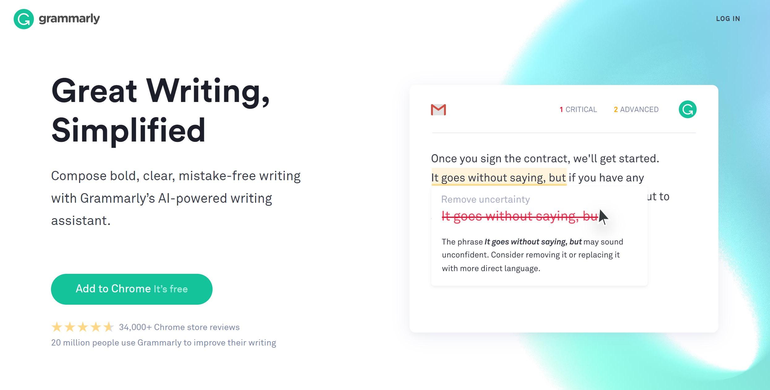 Grammarly.com landing page