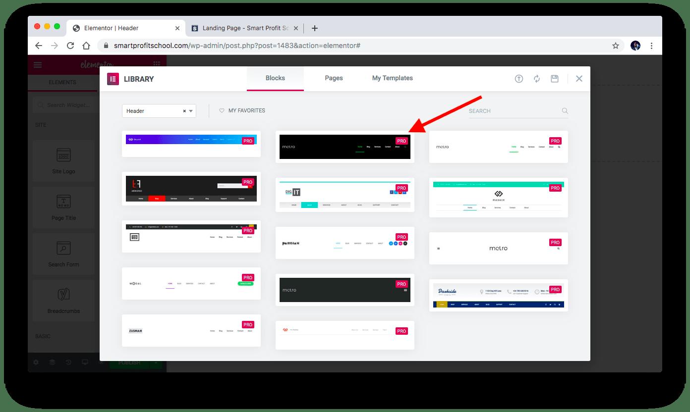 Selecting Metro header