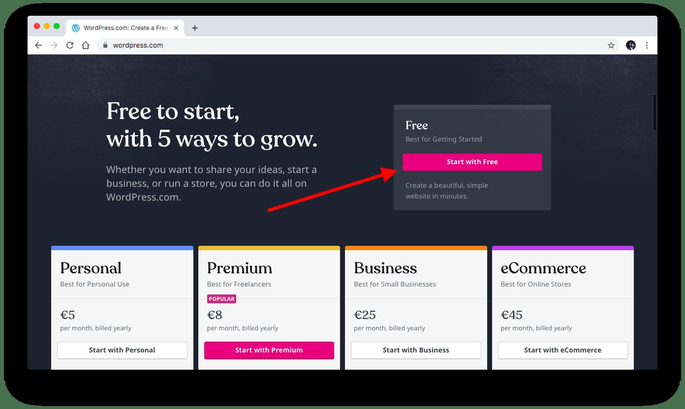 Creating WordPress.com account