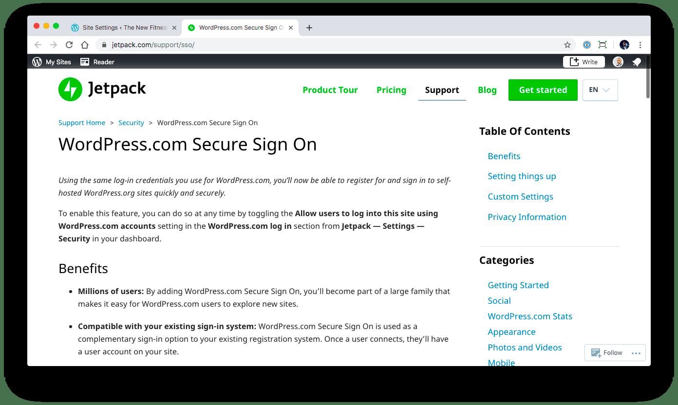 Secure Sign On information