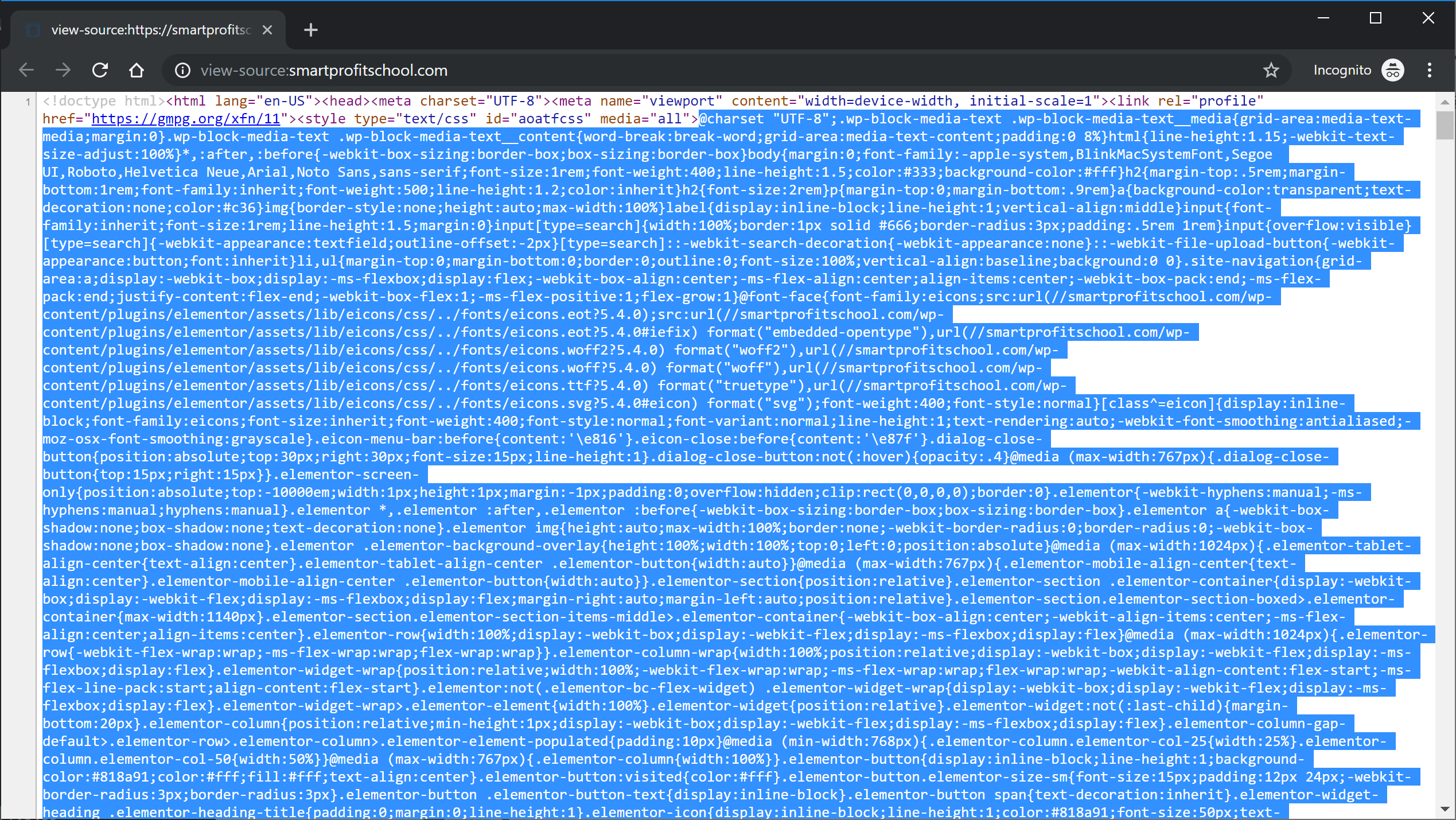 CSS in source code