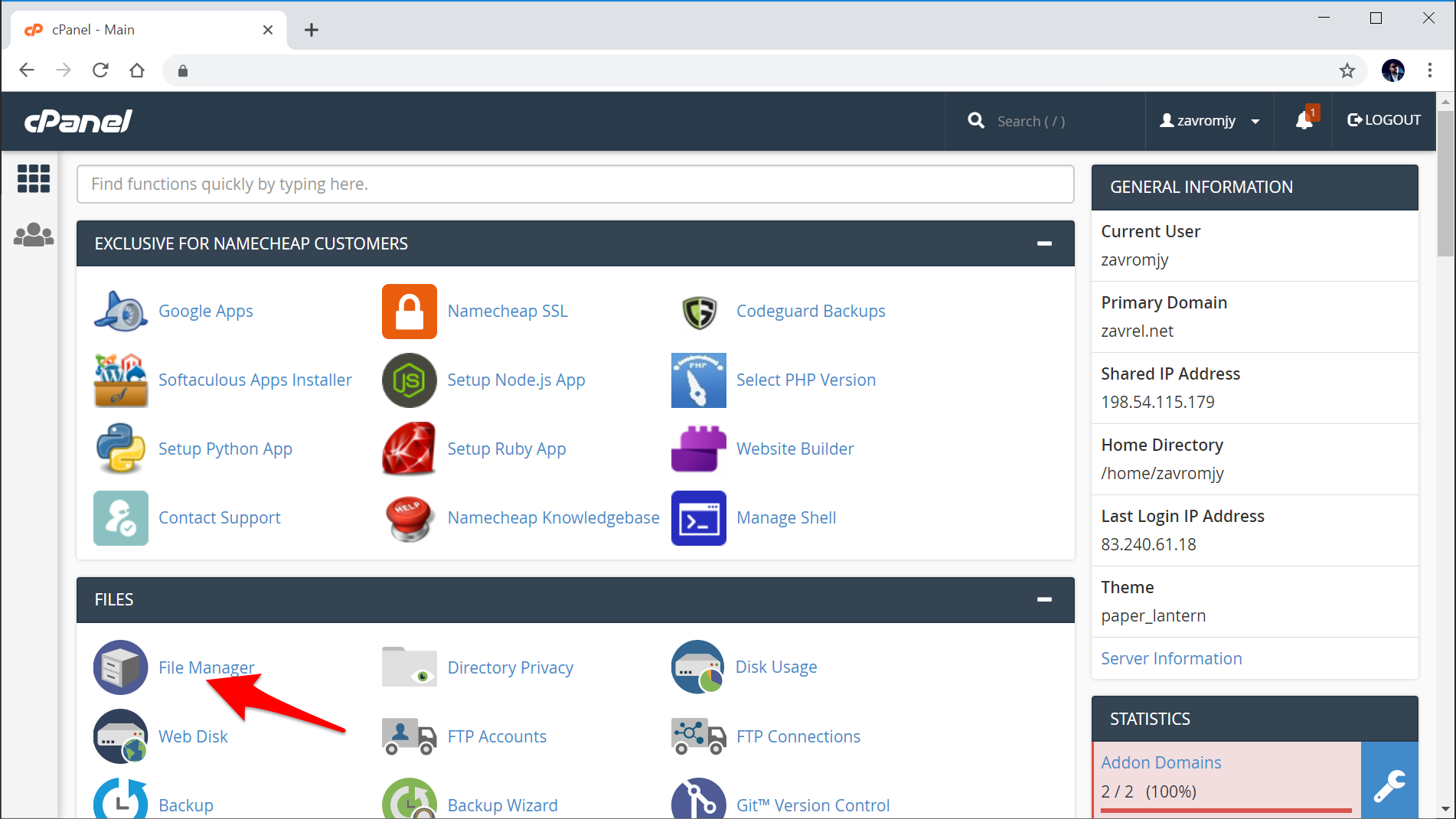 Namecheap cPanel File Manager