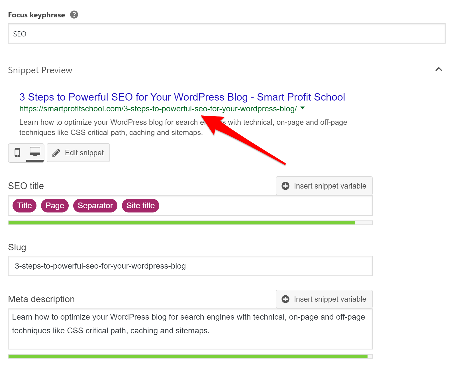 Yoast SEO-friendly URL