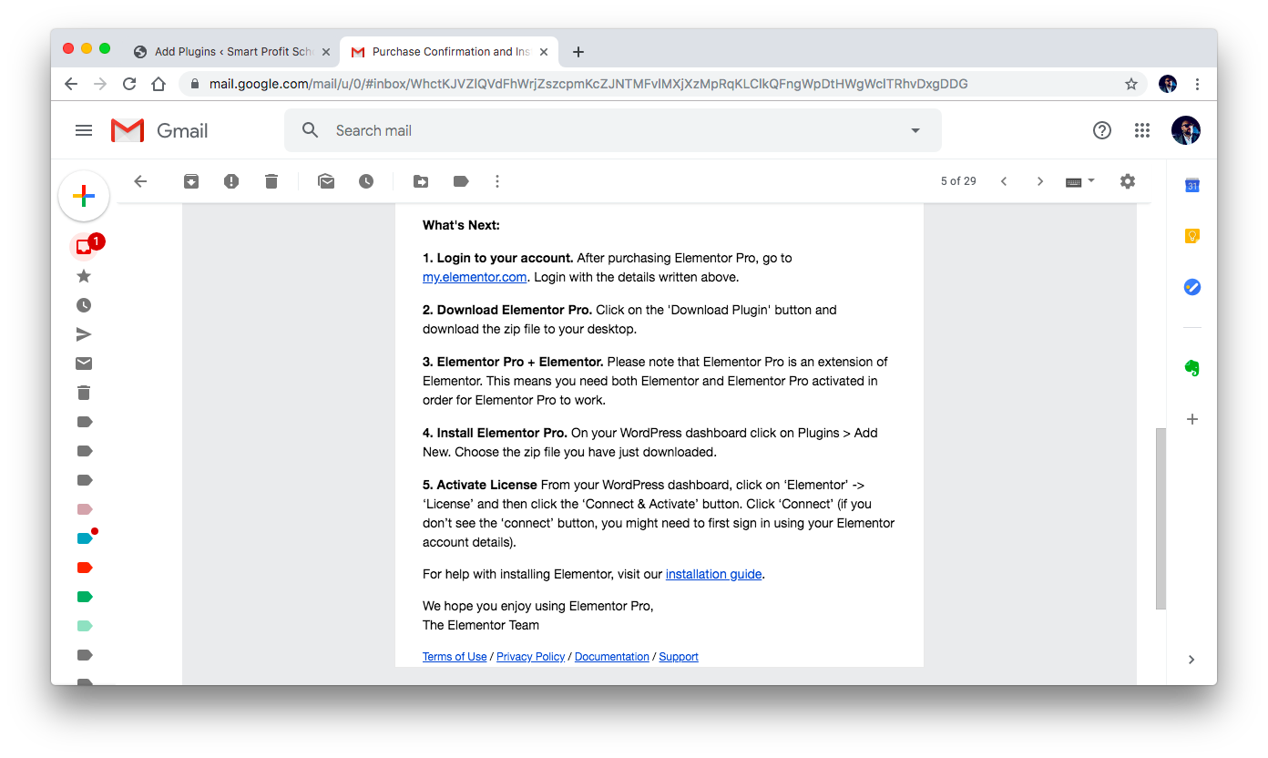 Elementor email