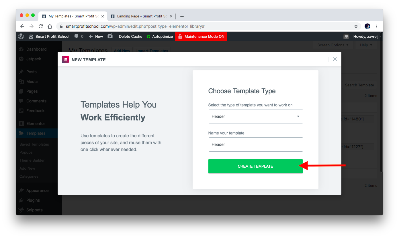 Creating header template