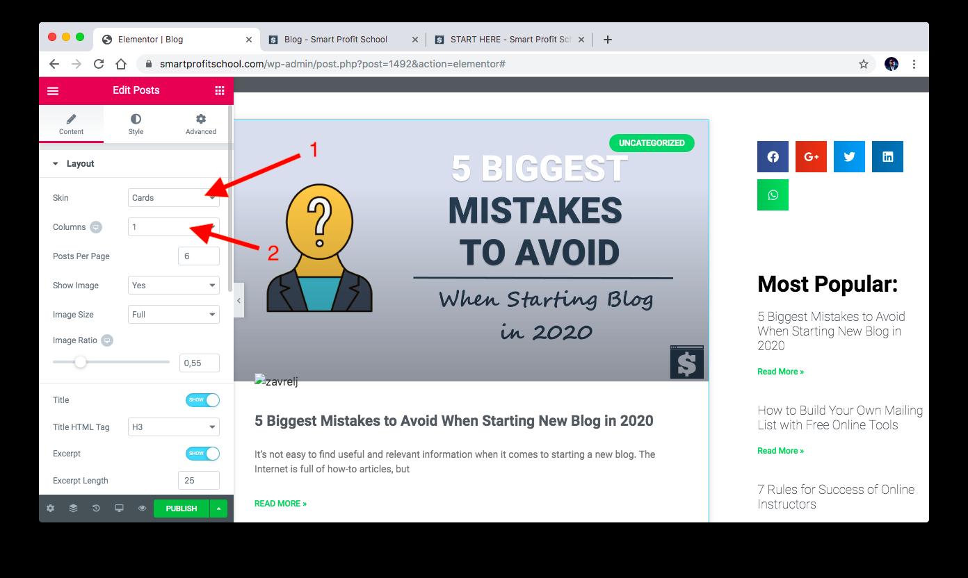 Changing blog layout