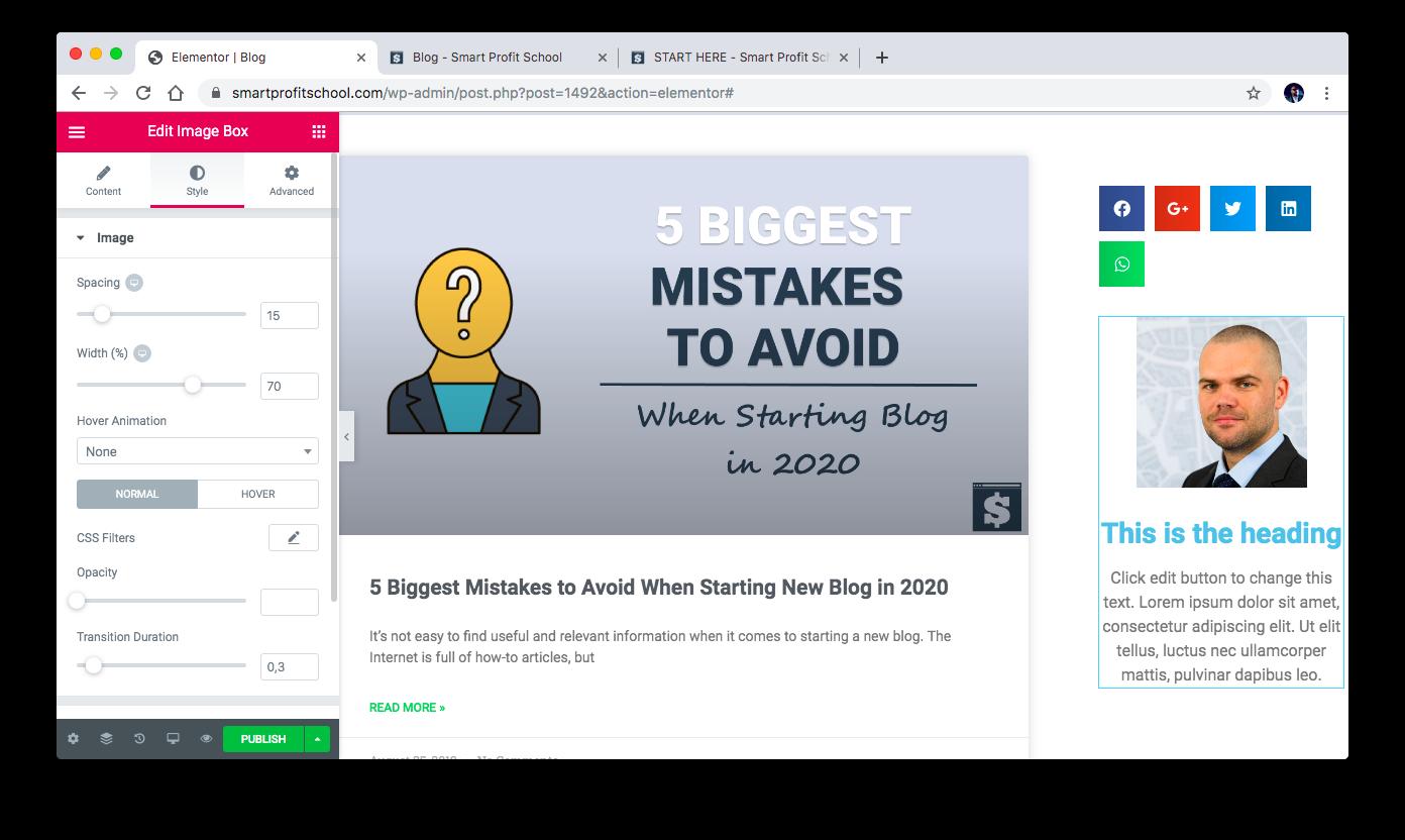 Setting blog avatar