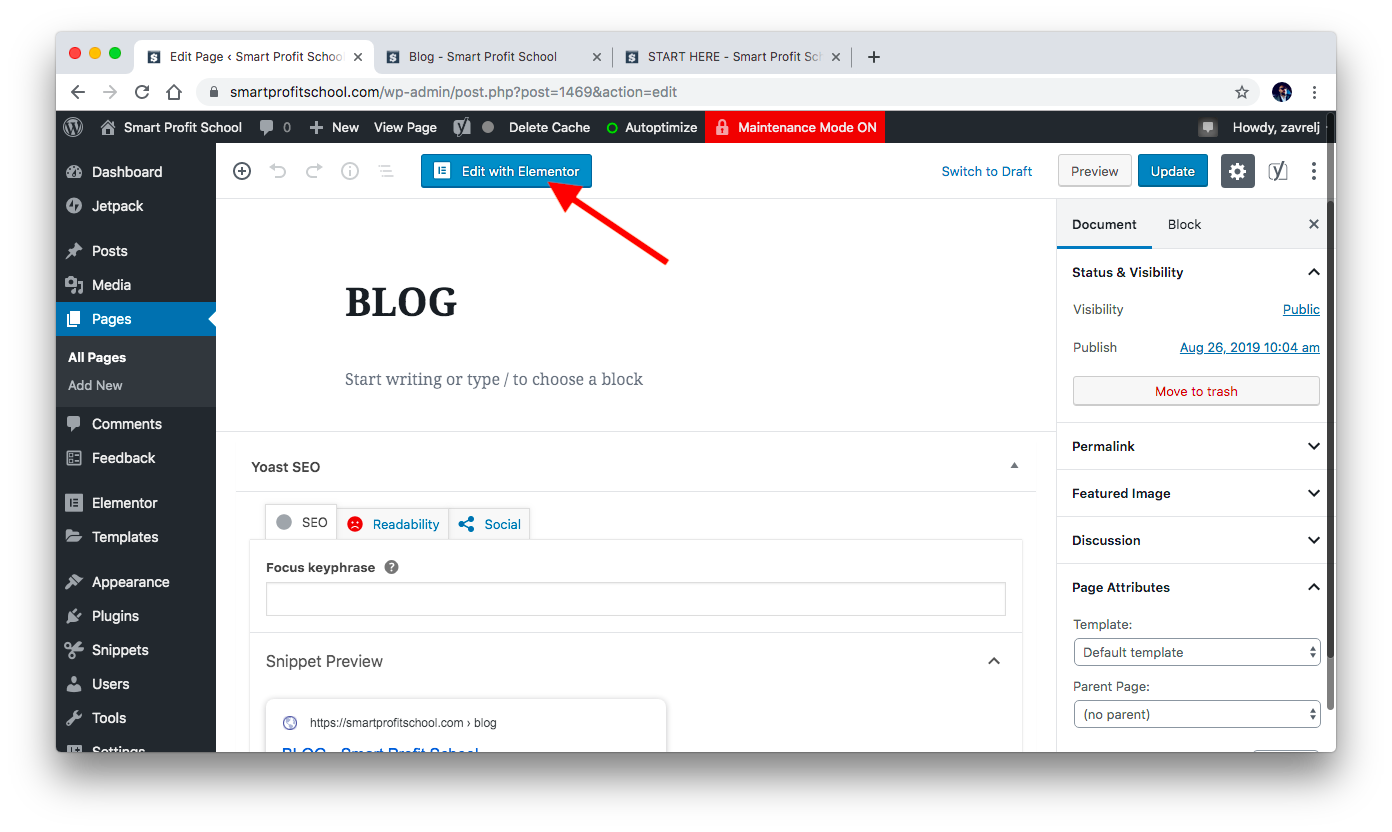 Adding blog template to page