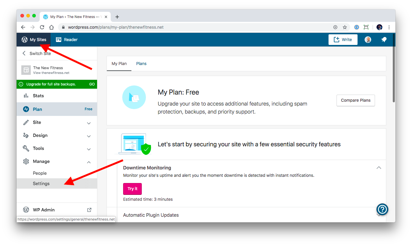 Site security settings part 1