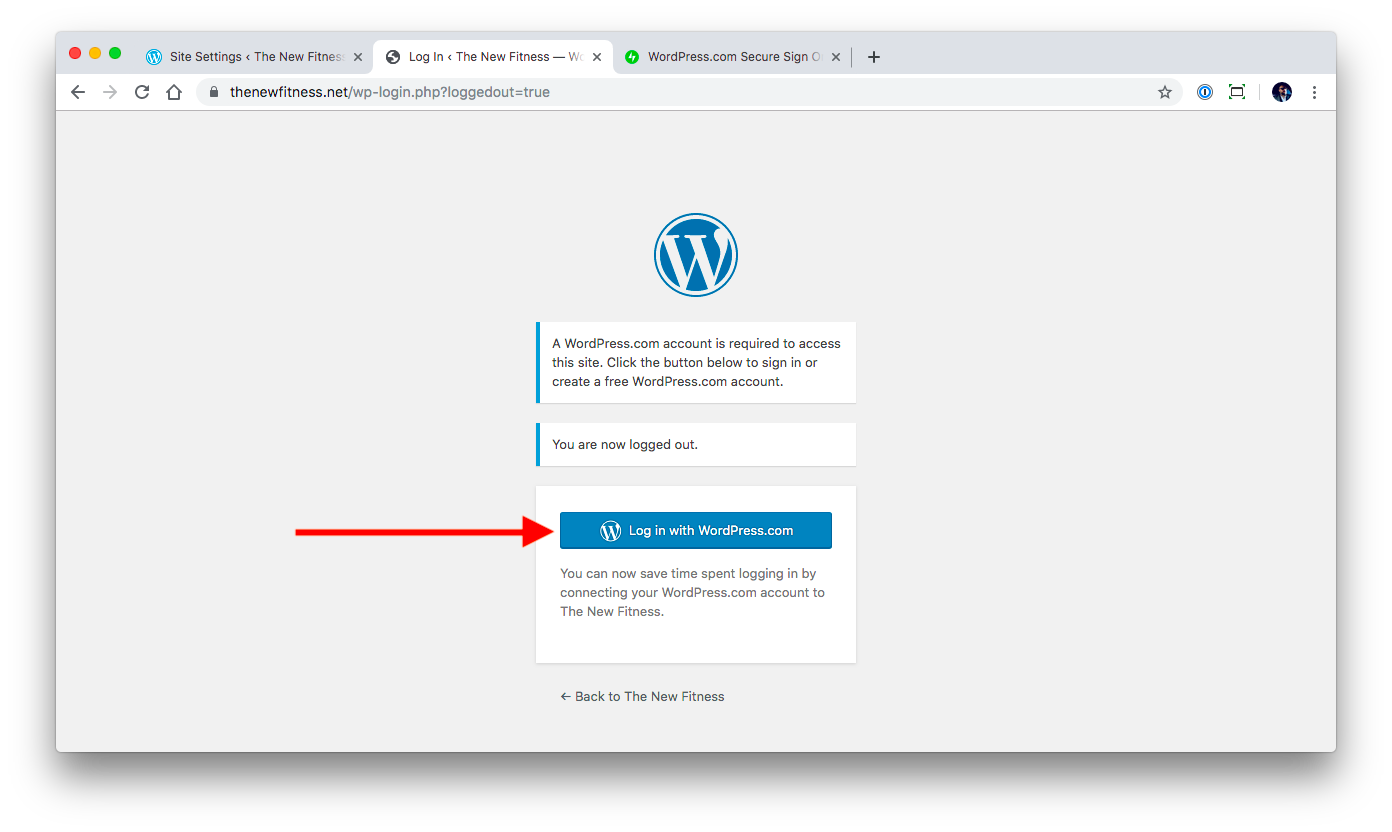 Logging in with WordPress.com account