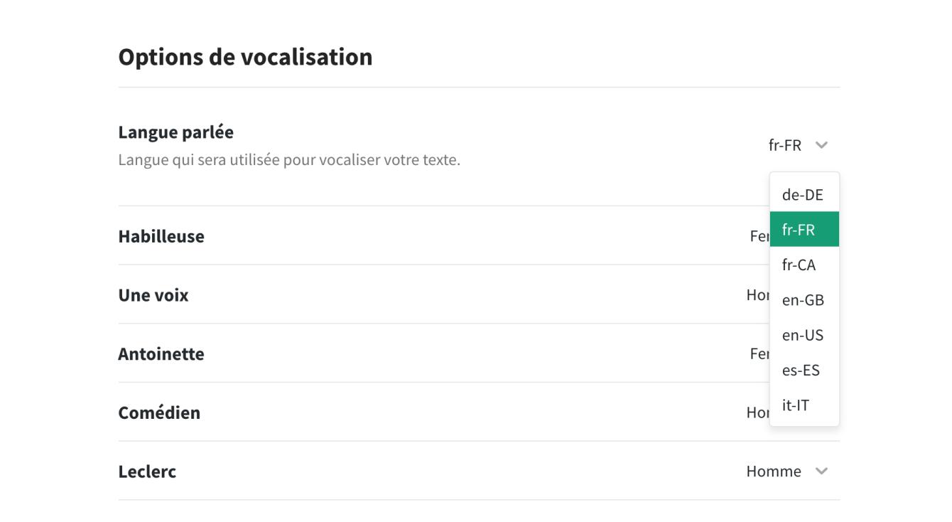 Paramètres de vocalisation