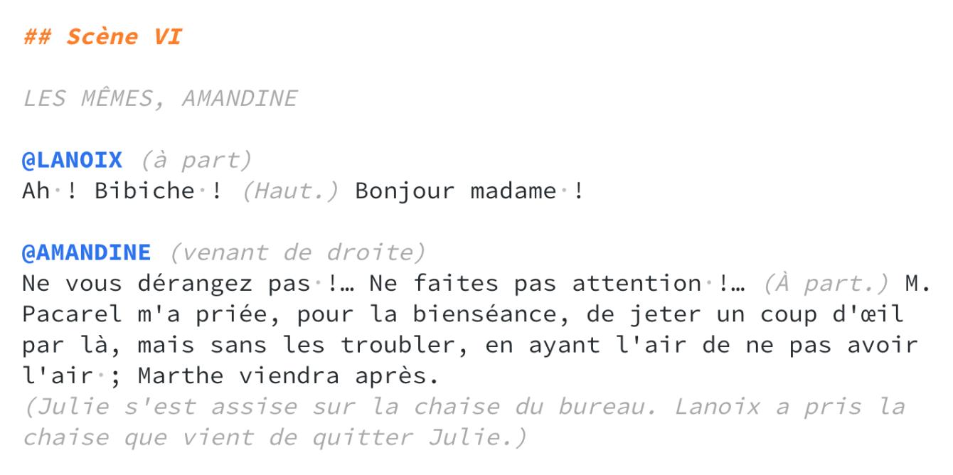 syntaxe d'un texte de théâtre