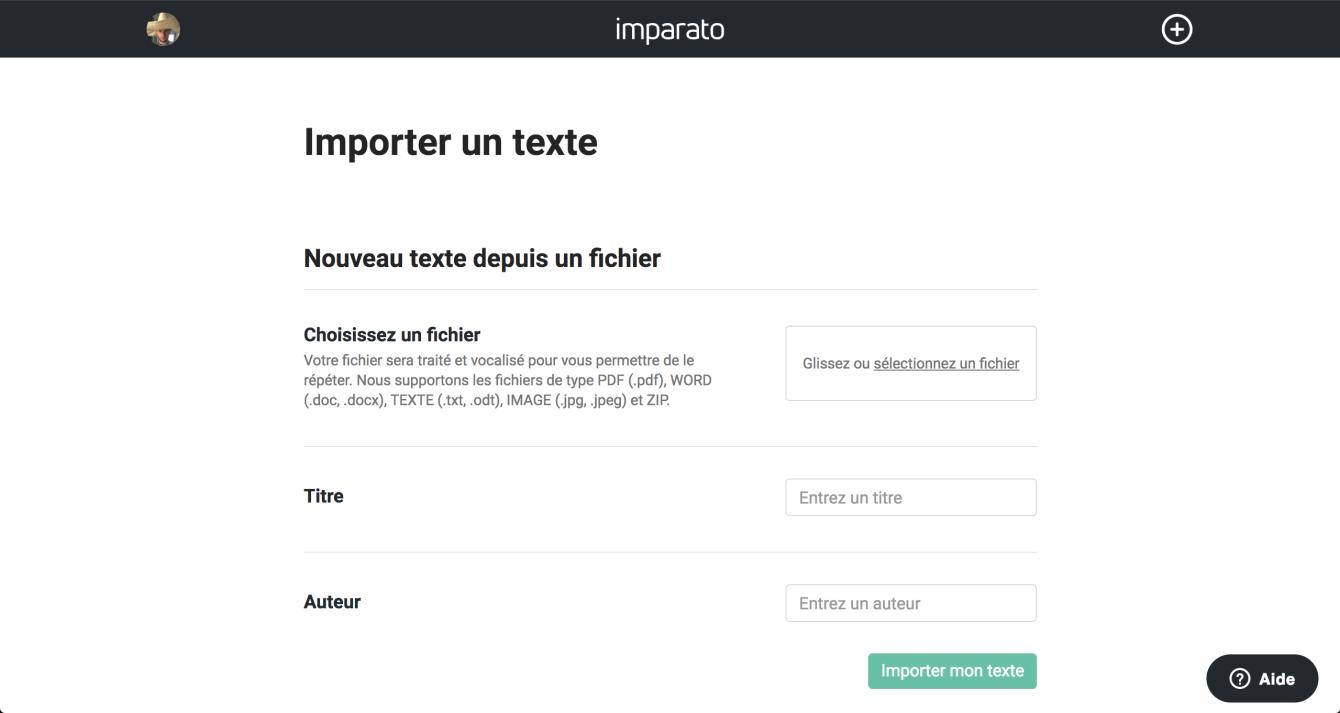 Formulaire d'import de texte sur le web