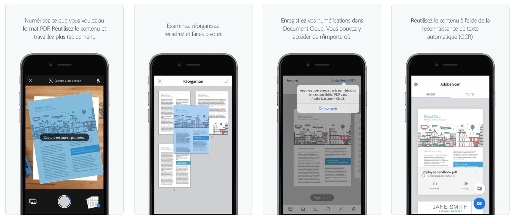 Adobe scan screenshots dans l'AppStore
