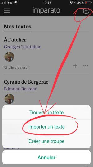 Accéder au menu d'import depuis l'application mobile