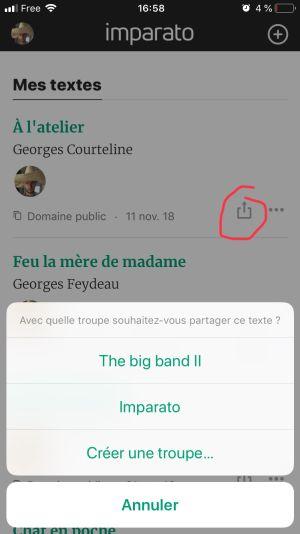 partager un texte sur mobile
