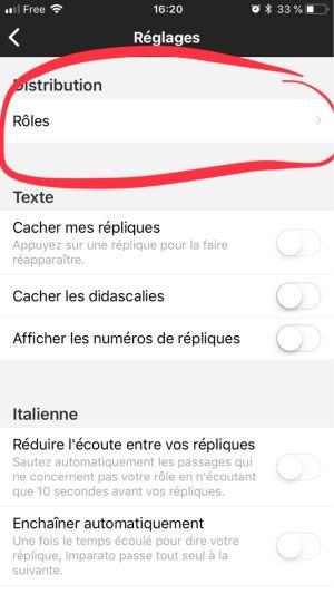 Sélectionner le menu rôles sur l'application mobile