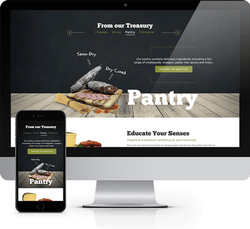 Mockup of Gourmet Trader website
