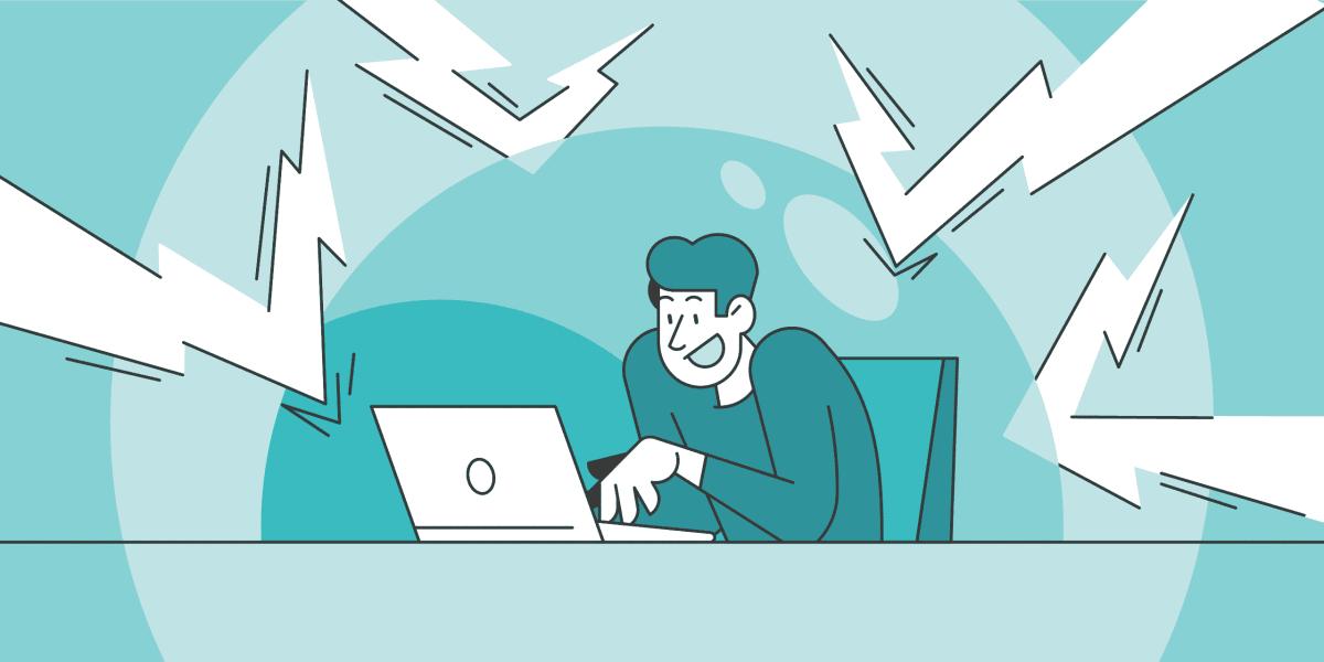 illustration of man focusing on his laptop.