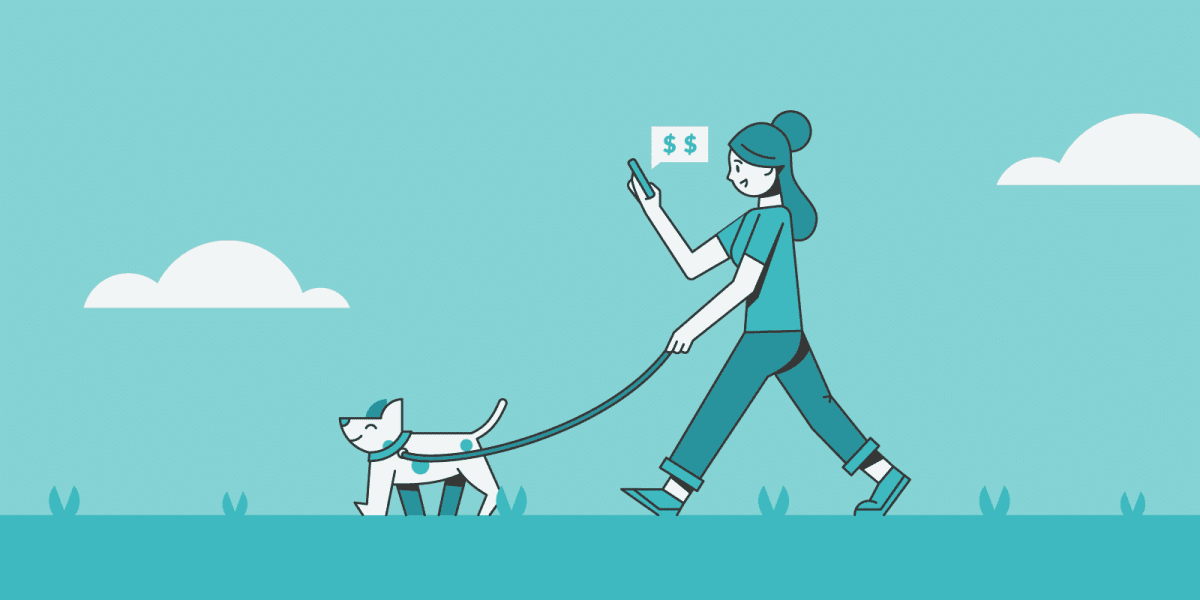 gig worker walking dog while earning money on her phone.