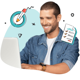 Businessman on a laptop computer