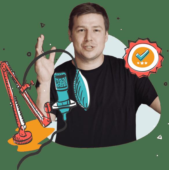 Vlad Kachur talking into a microphone