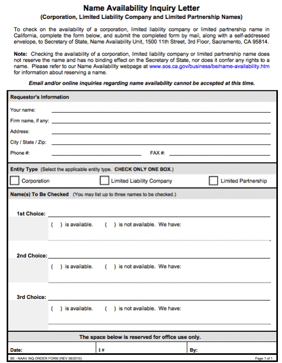 California business name availability form
