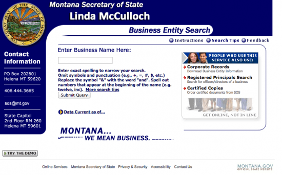 Montana-Secretary-of-State-Business-Entity-Search