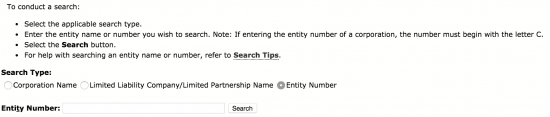 search ca entity number