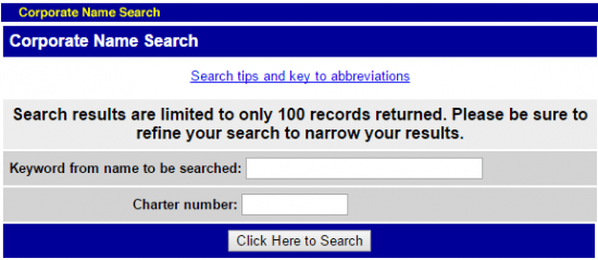 Maine Secretary of State business entity name search by keyword form.