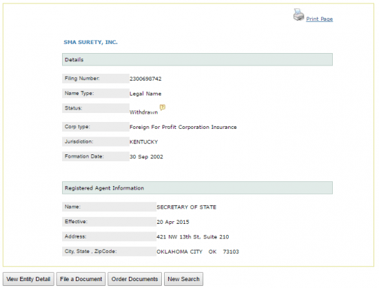 Oklahoma Secretary of State business entity name search details.