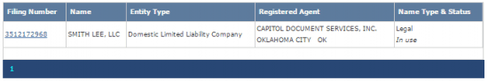 Oklahoma Secretary of State business entity filing number search results.