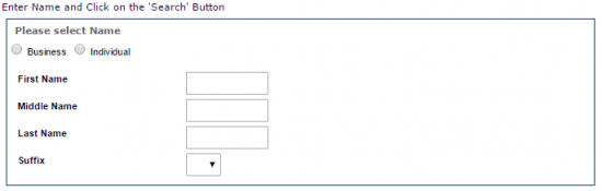 Oklahoma Secretary of State business entity search by registered agent or name of person form.