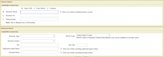 Vermont Secretary of State business entity name search form.
