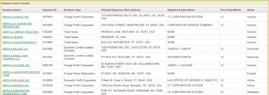 Vermont SOS business entity name search results example.