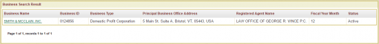 Vermont SOS business entity ID search results example.