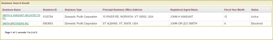 Vermont Secretary of State advanced business entity search results page example.