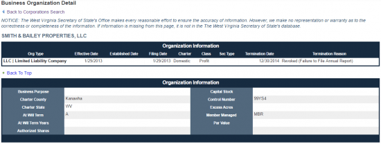West Virginia Secretary of State business entity search by organization details.