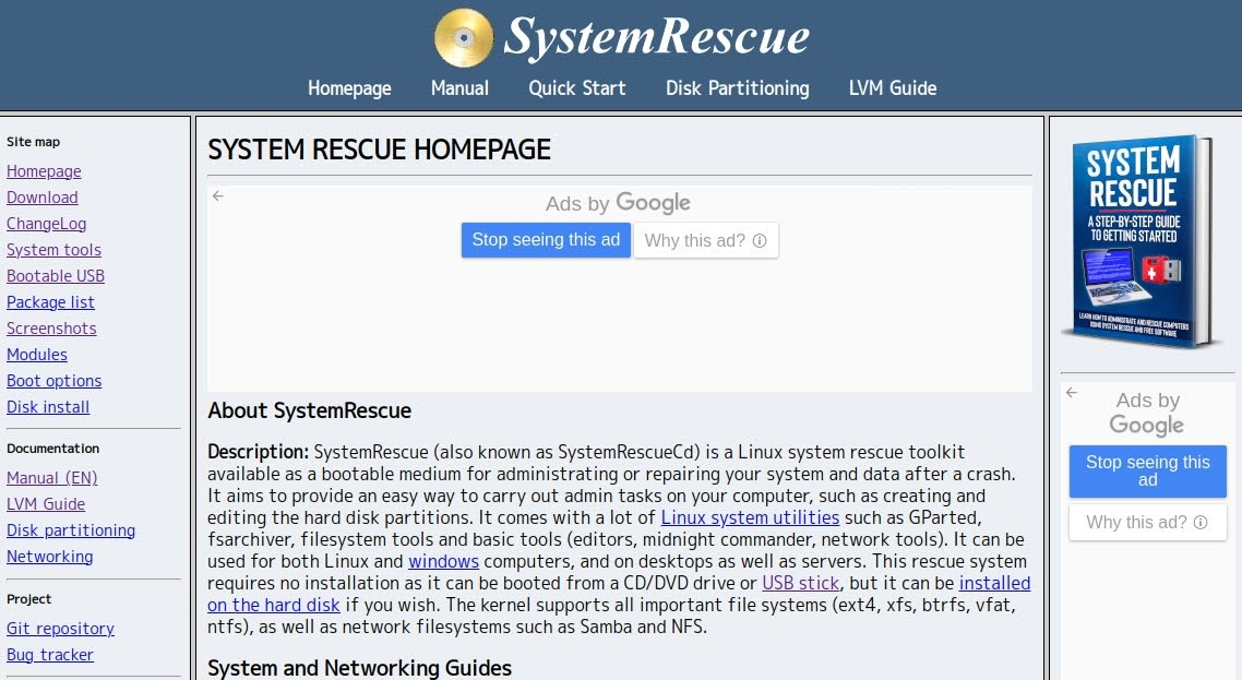 SystemRescue Homepage